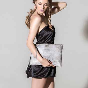 Sophie-Silver Metallic Large Leather Pouch/Wristlet