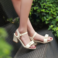 Patent Leather Bow Ankle Straps Chunky Sandals 8799