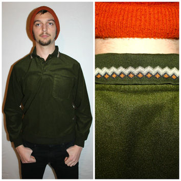 Vintage 80s Men's TRIBAL Print Collar, Hunter Green Knit POCKET Shirt by Lion's Den