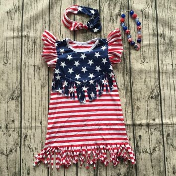 2018 hot sleeveless kids july 4th Dresses Baby girl summer American flag tassels dress children boutique outfits with accessory