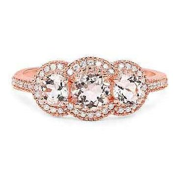 14K Rose Gold 1.04TCW Round Cut Peach Morganite & White Diamonds French Pave Halo Journey Ring
