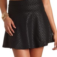 Chevron Coated Skater Skirt by Charlotte Russe - Black