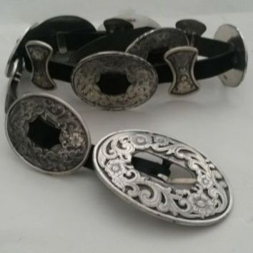 Vintage Tony Lama Concho Belt Floral Silver & Stamped Black Leather 1994