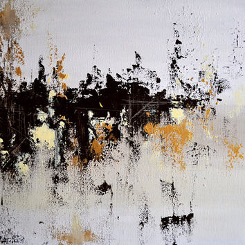 Original Abstract Painting, Large Wall Art Modern Gold Black 20x24""