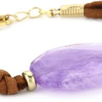 Ettika Gold Colored Large Oval Amethyst Rust Deerskin Leather Bracelet