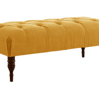 "Stanton 50"" Tufted Bench, French Yellow, Entryway Bench, Bedroom Bench"