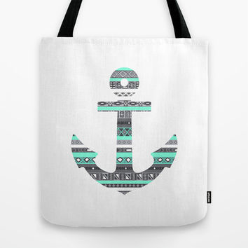 Tiffany Mint Aztec Pattern Anchor Tote Bag by RexLambo