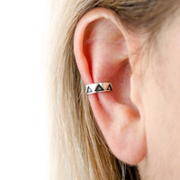 Sterling Silver Ear Cuff Earring Black Triangle Ear Wrap Earrings Boho Jewelry - ECU004