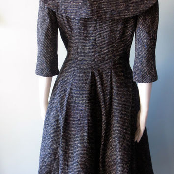 Stunning One Of A Kind Vintage 1950's Shawl Collar Suzy Perette Dress