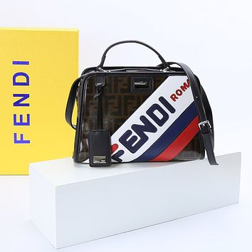 FENDI canvas Denim Fonap Soft Tote Bag 8 BR 616 Large Satchel New