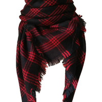 Red Raw Hem Plaid Oversized Scarf