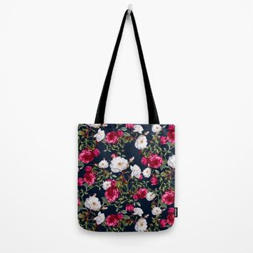 Vintage Roses on Darkblue Tote Bag by VS Fashion Studio