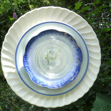 Whimsical Glass Garden Flowers, Recycled Plate Flowers, Yard Art