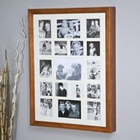 Collage Photo Frame Wooden Wall Locking Jewelry Armoire - 23W x 30H in.