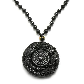 Overvalue Natural Obsidian Stone Carved Chinese Dragon Birds BaGua Lucky Pendant With Necklace Gemstone Fengshui Crafts Gift