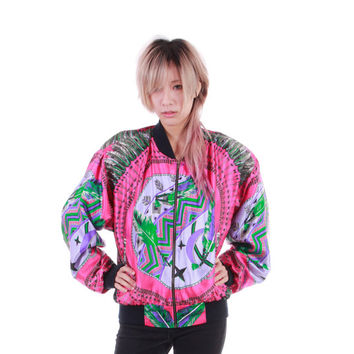 Native American Dreamcatcher Print Windbreaker Jacket 80s 90s Vintage Hot Pink Silky Swag Royal Colorful Womens Size Medium