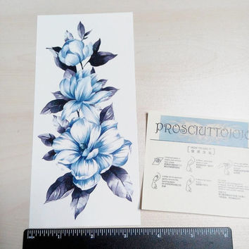 temporary tattoo blue big large plant flowers flower body art water transfer skin paper tattoo spray sticker stickers fake tattoo