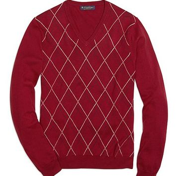 Tattersall V-Neck Sweater - Brooks Brothers