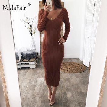 Nadafair knitted sweater bodycon long winter dresses women v neck long sleeve sexy midi dresses elastic slim party dress