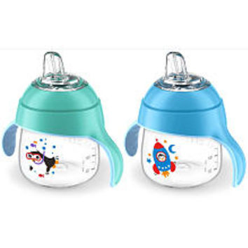 Avent 2 Pack 7 Ounce My Little Sippy Cup - Blue/Teal