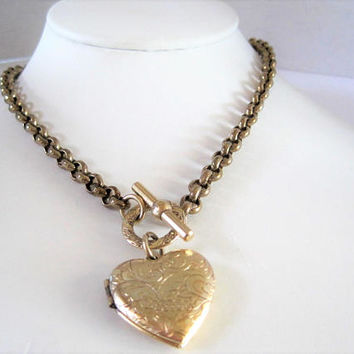 Gold Tone Locket and Chain, Embellished Heart, Toggle Clasp, Choker Chain