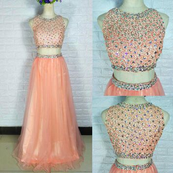 Beautiful 2017 Hot Long Orange Two Piece Prom Ball Dress Women Bead Tulle Formal Evening Party Gown Free shipping