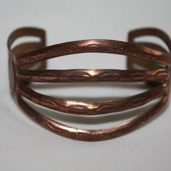 Native American Copper Cuff  Bracelet Vintage 1950s Jewelry