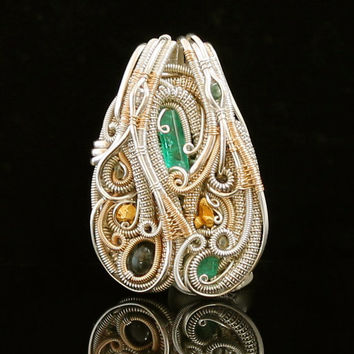 Emerald, Diamonds, Gold crystal, Trapiche Silver wire wrapped pendant- wrap jewelry handmade