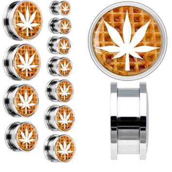 Syrupy Waffle White Pot Leaf Screw Fit Plug in Stainless Steel