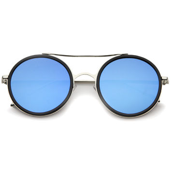 Modern Flat Lens Round Mirrored Lens Sunglasses A454