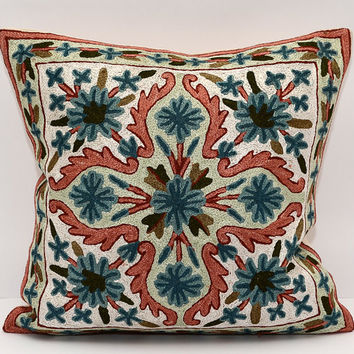 16x16. embroidered. silk embroidery. pillow. cushion. orange. blue. throw pillow. sofa cushion. decorative pillow. designer pillow