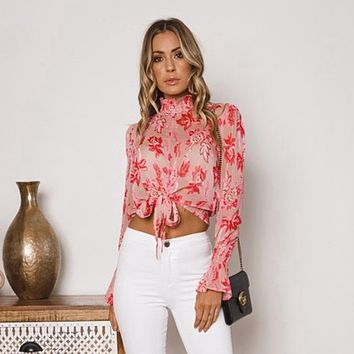Women's Turtle Neck sweet bow shirts tops blouses long sleeve boho floral prints
