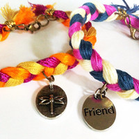 Orange and pink braided friendship bracelets, dragonfly bracelet, friendship bracelet, textile bracelet, braided bracelet, layering bracelet