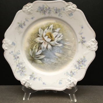 Antique Rosenthal Plate | French Country Blue | Bavarian China | Water Lily | Forget Me Not | German Porcelain | Decorative Plate
