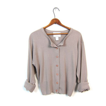Simple Button Up Sweater Cropped Taupe Cardigan Basic Slouchy Long Sleeve Knit Shirt Beige Minimal Express 1990s Knit Top Vintage Medium