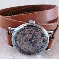 Stainless Steel Manual-Winding Semi-Automatic Mechanical Silver Watch. FREE SHIPPING