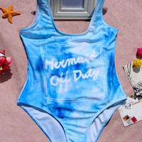 "Blue ""Mermaid Off Duty"" Letter Print Backless Monokini"