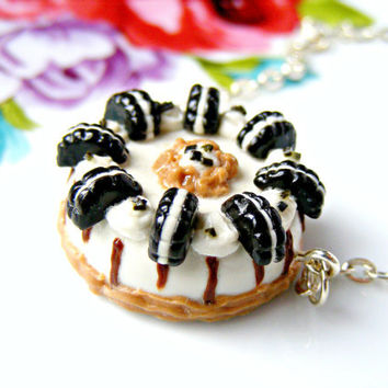 Polymer Clay Oreo Cake Necklace Polymer Clay by Sweetystuff