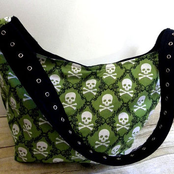 Ready to Ship-Green Damask Skulls-The Roxie Bag- Slouch Hobo Bag