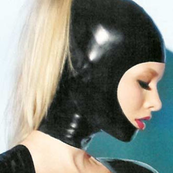 KAY Open Face Latex Hood with Ponytail Opening