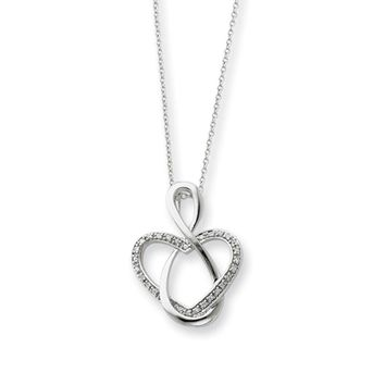 Sterling Silver & CZ Lifetime Friend, Infinity Heart Necklace, 18 Inch