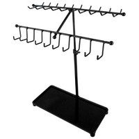 MyGift® 15 inch Black Metal 30-Hook Necklace / Bracelet Jewelry Organizer Display Rack