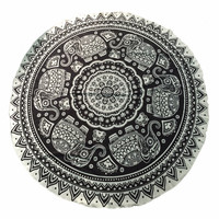 Indian Round Mandala Tapestry Wall Hanging Throw Towel Beach Print Mat Boho Circle Beach Towel Serviette Plage Anime Print Black