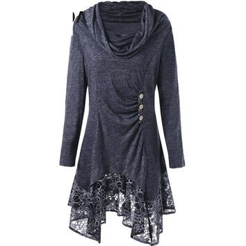 Womens Plus Size Casual T-shirts Cowl Neck Floral Longline Top Trendy Button Long Sleeves