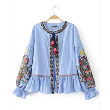 2017 Women Fashion Vintage Retro Loose Sequin embroidery Stripe Jacket National Style Lacing Kimono Tops Outwear Coat Tops CT004