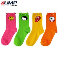 women's socks fluorescent color punk rivet Decorative eye Tongue Eight Diagrams smile emoji odd future socks