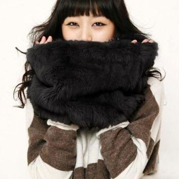 NOV9O2 FASHION MULTICOLOR FUR COLLAR WARM SCARF