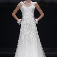 Sheer Sleeve Wedding Gown