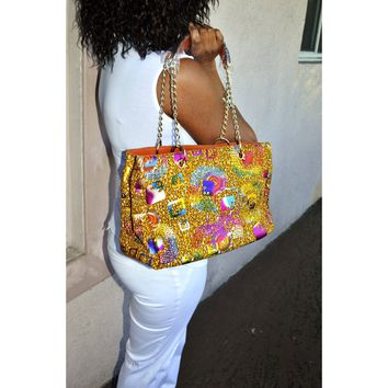 Brown African Print Chain Link  Bag