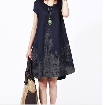 Ink printed Cotton/Linen Women Maternity Dress Vestido Gravida Clothing/Clothes For Pregnant 2014 Summer Plus Size 2XL 8051 = 1946625220